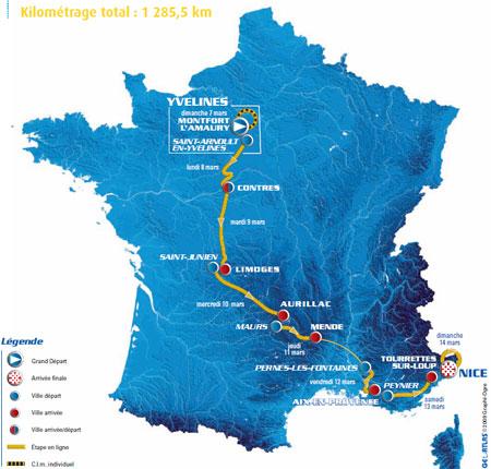 La carte du parcours de Paris-Nice 2010