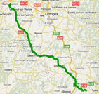The route of the fourth stage of Paris-Nice 2010 on Google Maps