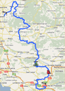 The route of the sixth stage of Paris-Nice 2010 on Google Maps