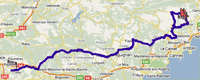 The route of the seventh stage of Paris-Nice 2010 on Google Maps
