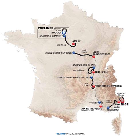 La carte du parcours de Paris-Nice 2011