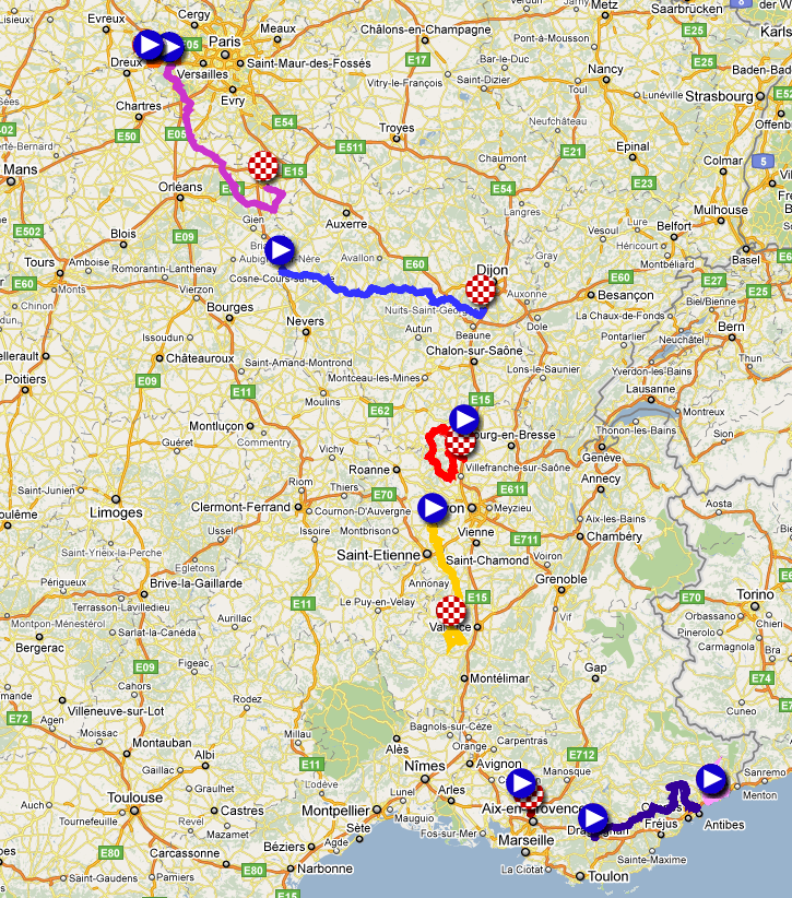 The map of the Paris-Nice 2011 race route in Google Earth