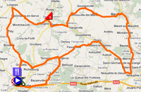 The map with the stage route for the 1st stage of Paris-Nice 2011 sur Google Maps