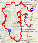 The map with the stage route for the 4th stage of Paris-Nice 2011 sur Google Maps