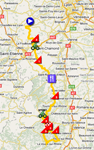 The map with the stage route for the 5th stage of Paris-Nice 2011 sur Google Maps