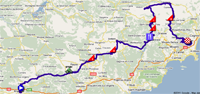 The map with the stage route for the 7th stage of Paris-Nice 2011 sur Google Maps