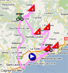 The map with the stage route for the 8th stage of Paris-Nice 2011 sur Google Maps