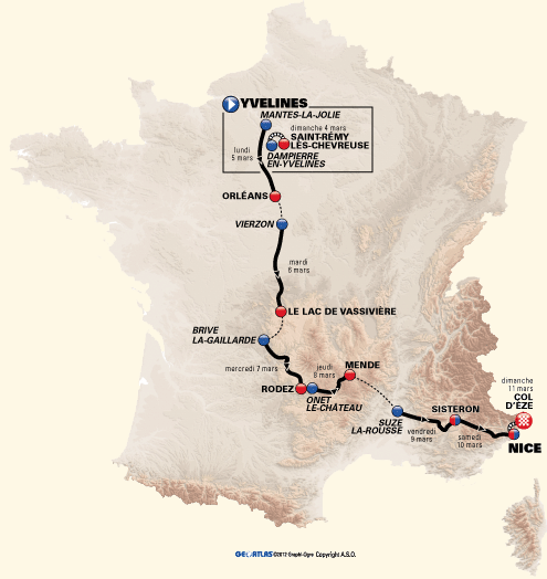 Race route Paris-Nice 2012