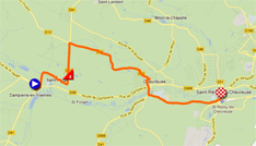 The map with the race route of the first stage of Paris-Nice 2012 on Google Maps