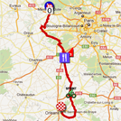 La carte du parcours de la deuxième étape de Paris-Nice 2012 sur Google Maps