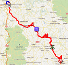 The race route of the fourth stage of Paris-Nice 2012 on Google Maps