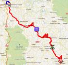 La carte du parcours de la quatrième étape de Paris-Nice 2012 sur Google Maps