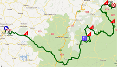 The race route of the fifth stage of Paris-Nice 2012 on Google Maps