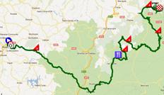 La carte du parcours de la cinquième étape de Paris-Nice 2012 sur Google Maps
