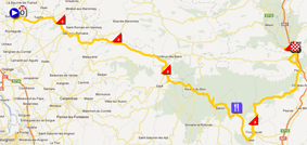 The race route of the sixth stage of Paris-Nice 2012 on Google Maps