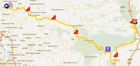 La carte du parcours de la sixième étape de Paris-Nice 2012 sur Google Maps