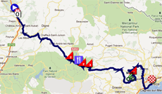 The race route of the seventh stage of Paris-Nice 2012 on Google Maps
