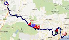 La carte du parcours de la septième étape de Paris-Nice 2012 sur Google Maps