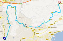 The race route of the eighth stage of Paris-Nice 2012 on Google Maps