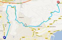 La carte du parcours de la huitième étape de Paris-Nice 2012 sur Google Maps