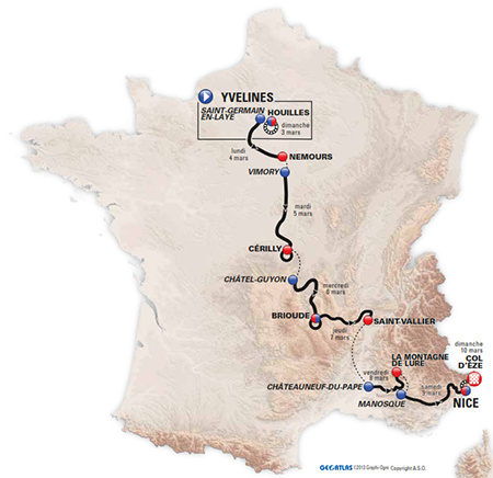 The map of Paris-Nice 2013