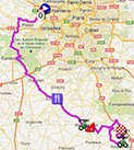 The map with the race route of the first stage of Paris-Nice 2013 on Google Maps