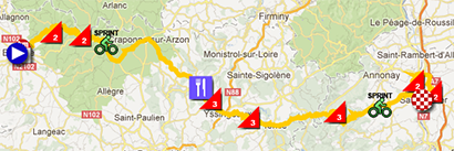 The map with the race route of the fourth stage of Paris-Nice 2013 on Google Maps