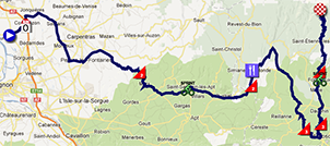 The map with the race route of the fifth stage of Paris-Nice 2013 on Google Maps