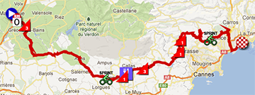The map with the race route of the sixth stage of Paris-Nice 2013 on Google Maps