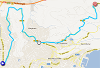The map with the race route of the seventh stage of Paris-Nice 2013 on Google Maps