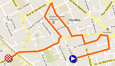 The map with the race route of the prologue of Paris-Nice 2013 on Google Maps