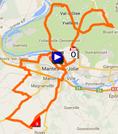 De kaart met het parcours van de eerste etappe van Parijs-Nice 2014 op Google Maps
