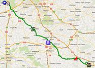De kaart met het parcours van de tweede etappe van Parijs-Nice 2014 op Google Maps