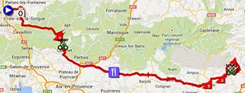 De kaart met het parcours van de zesde etappe van Parijs-Nice 2014 op Google Maps