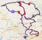 De kaart met het parcours van de zevende etappe van Parijs-Nice 2014 op Google Maps