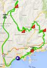 De kaart met het parcours van de achtste etappe van Parijs-Nice 2014 op Google Maps