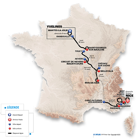 The map with the Paris-Nice 2014 race route