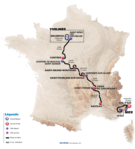The official map of Paris-Nice 2015 - © A.S.O. / GeoAtlas