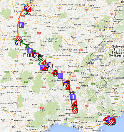 The Paris-Nice 2015 race route in Google Earth