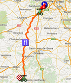 The map with the race route of the 1st stage of Paris-Nice 2015 on Google Maps