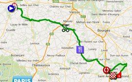 The map with the race route of the 2nd stage of Paris-Nice 2015 on Google Maps
