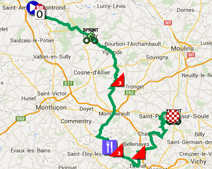 The map with the race route of the 3rd stage of Paris-Nice 2015 on Google Maps