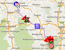 The map with the race route of the 4th stage of Paris-Nice 2015 on Google Maps