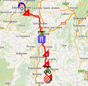 The map with the race route of the 5th stage of Paris-Nice 2015 on Google Maps