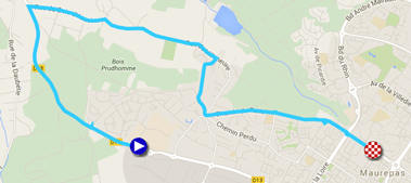 The map with the race route of the prologue of Paris-Nice 2015 on Google Maps