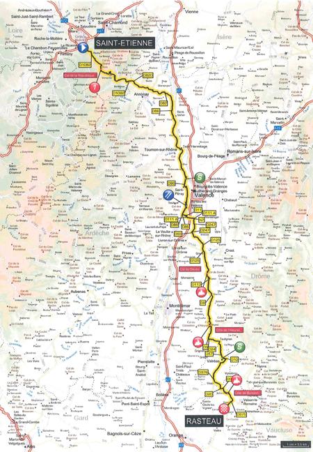 Parcours étape 5 Paris-Nice 2015 : Saint-Etienne > Rasteau