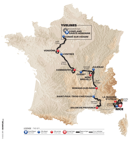 La carte de Paris-Nice 2016