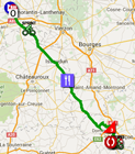 The map with the race route of the 2nd stage of Paris-Nice 2016 on Google Maps