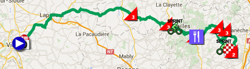 The map with the race route of the 3rd stage of Paris-Nice 2016 on Google Maps