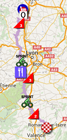The map with the race route of the 4th stage of Paris-Nice 2016 on Google Maps